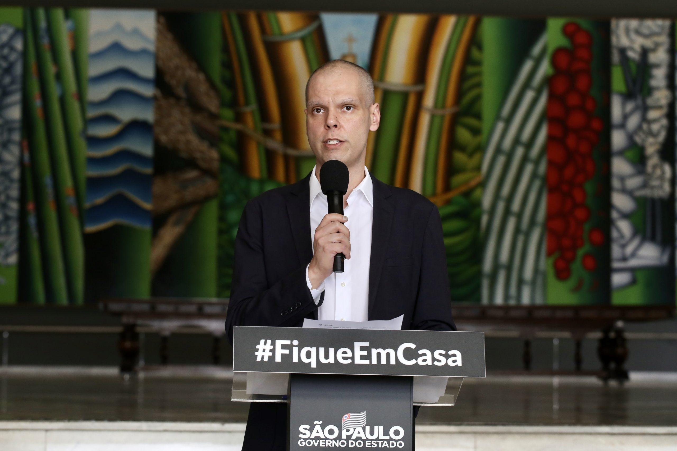Bruno Covas durante coletiva. (Créditos: Governo do Estado de São Paulo).