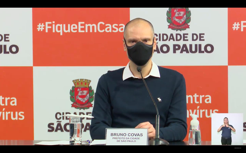 Prefeito Bruno Covas durante coletiva de divulgação de Inquérito sorológico. (Crédito: Reprodução Prefeitura de São Paulo).