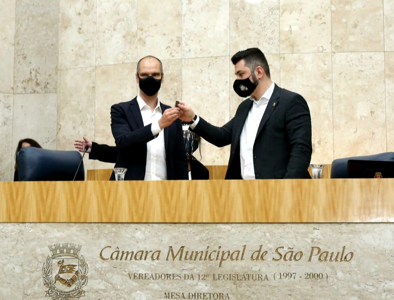 O prefeito Bruno Covas e o presidente da Câmara, Eduardo Tuma.